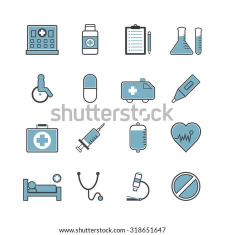 set of hospital icon, isolated on white background - stock vector