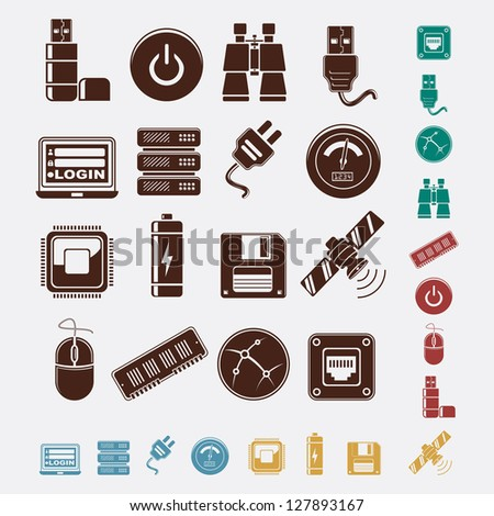 set of hosting icons - stock vector