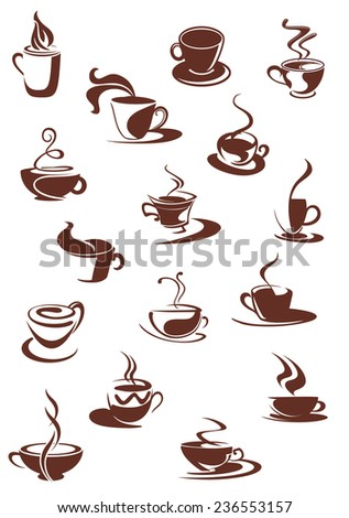 Set of hot coffee beverage doodle sketches showing steaming cups and mugs of hot coffee or chocolate, isolated on white - stock vector