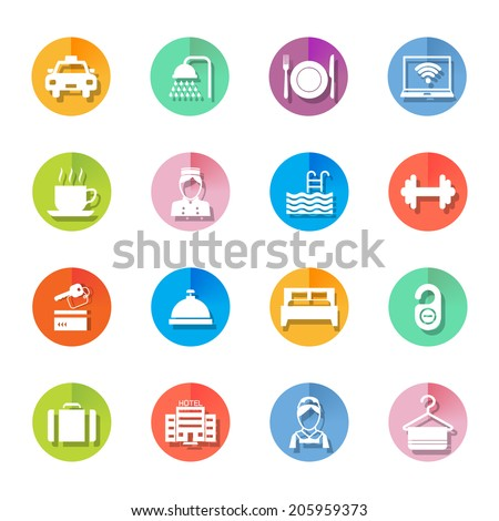 Set of hotel bed reception building icons on colorful circles in white color vector illustration - stock vector