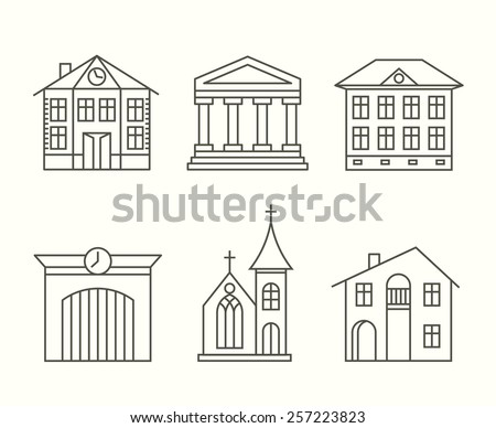 Set of house building icons set in line style. Building with columns and church. Vector illustration - stock vector