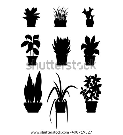 Set of house plant isolated. Vector flat house plant pot illustration. Collection of flat home plant pot. BLACK house plants in pot for your design. Home plants icons set - stock vector