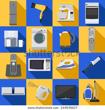 Set of household appliances and electronic devices icons. Vector illustration. - stock vector