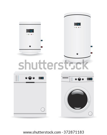 Set of household appliances  boiler and washing machine - stock vector