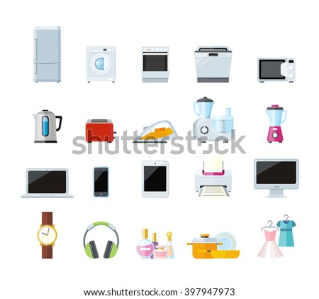 Set of household appliances design flat. Appliances household items, washing machine, kitchen appliances home, machine and equipment, refrigerator and microwave vector illustration - stock vector
