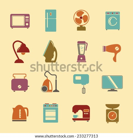 set of household appliances flat icons with a washing machine stove fridge lamp kettle hairdryer mixer coffee machine iron weigher fan monitor microwave vacuum cleaner and toaster - stock vector