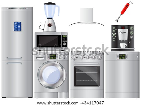 Set of household appliances. Refrigerator, washer, gas stove, extractor hood, dishwasher, blender, mixer, microwave, coffee machine. Vector Image. - stock vector