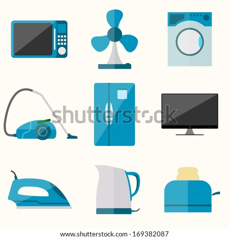 Set of household appliances vector icons - stock vector