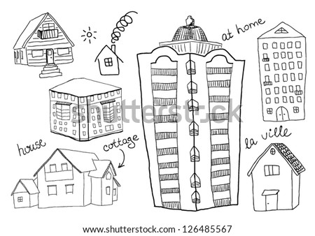 Set of houses - stock vector