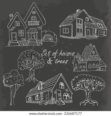 Set of houses and trees on black. Vector illustration - stock vector