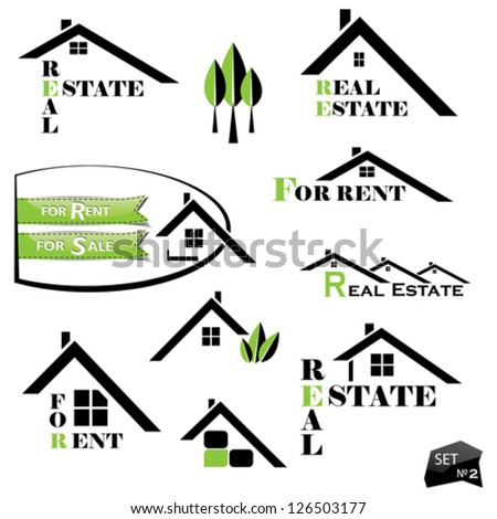 Set of houses icons for real estate business on white background. With natural elements - stock vector