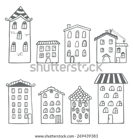 Set of houses in doodle style. Vector illustration - stock vector