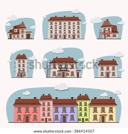 Set of houses. Modern house in cartoon style. - stock vector