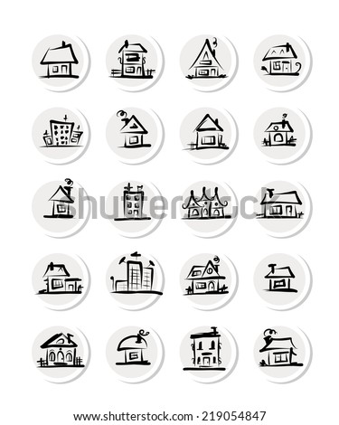 Set of  houses, sketch for your design - stock vector