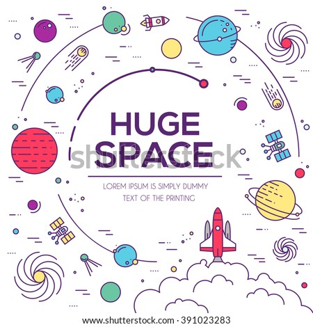 Set of huge space universe illustration. Space infographic. Space icon. Space thin lines background. Space flat elements. Space label. Space concept design. Outer space rocket flying into solar system - stock vector