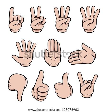 Set of human cartoon hands showing various gestures. - stock vector