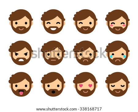 Set of 12 human emoticons. Simple and expressive cartoon male faces with beard. Modern flat vector style. - stock vector