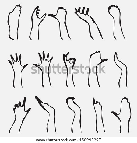 set of 15 human hand silhouettes for your design - stock vector