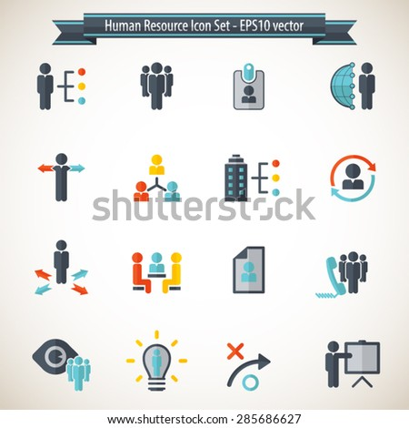 Set of 16 Human Resource, business and business related strategy icons. Editable vector icons for video, mobile apps, Web sites and print projects. - stock vector