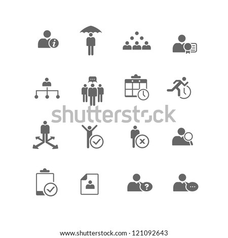 Set of 16 human resources and business management icons. - stock vector