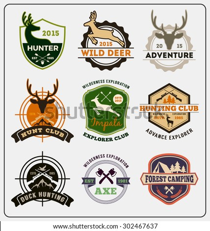 Set of hunting and adventure badge logo design for emblem logo, label design, insignia, sticker Vector illustration resize able and all types use free font - stock vector