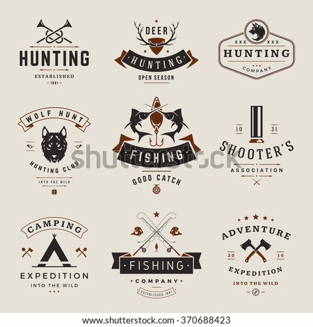 Set of Hunting and Fishing Labels, Badges, Logos Vector Design Elements Vintage Style. Deer Head, Hunter Weapons. Advertising Hunter Equipment. Fishing Logo, Deer Logo, Rifle Logo, - stock vector