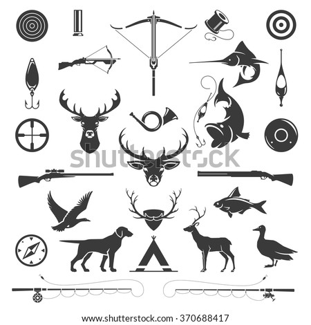 Set of Hunting and Fishing Objects Vector Design Elements Vintage Style. Deer head, hunter weapons, forest wild animals isolated on white. Deer Silhouette, Fish Silhouette, Riffle Silhouette. - stock vector