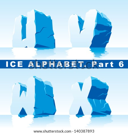 set of ice letters.  Part 6 - stock vector