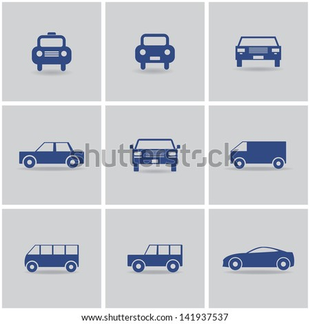 set of 9 icon cars. vector eps10 - stock vector