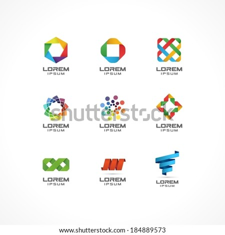 Set of icon design elements. Abstract ideas for business company. Internet,  communication, technology, geometric concepts.  Pictograms for corporate identity template. Stock Illustration (Vector) - stock vector