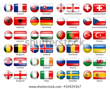 Set of Icon Flags of the 24 Participant Countries That Will Play in France in final of the European Soccer Tournament 2016. Icons are in Two Shapes Circle and Rectangle. Vector Illustration. - stock vector