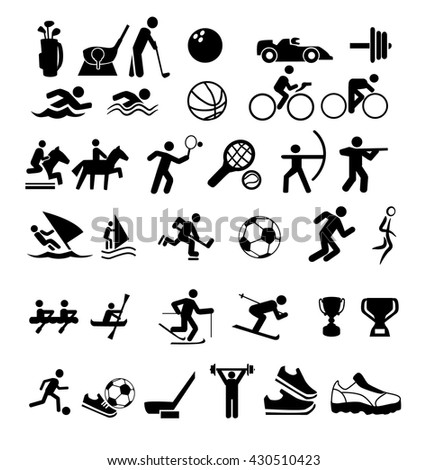 set of icons about sports - stock vector