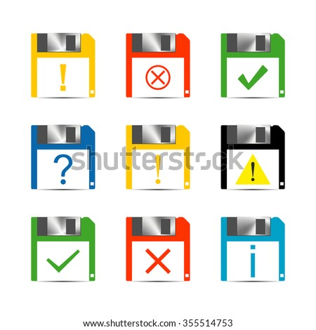 Set of icons and signs, symbols help, information, check, delete, attention vector illustration - stock vector
