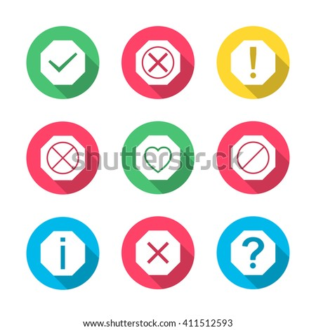 Set of icons and signs, symbols help, information, check, delete, attention with long diagonal shadow, vector illustration - stock vector