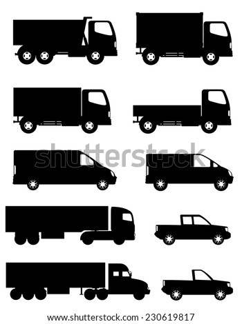 set of icons cars and truck for transportation cargo black silhouette vector illustration isolated on white background - stock vector