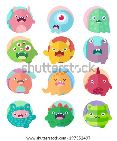 Set of icons, cute cartoon 12 monsters in circles with positive emotions faces - stock vector