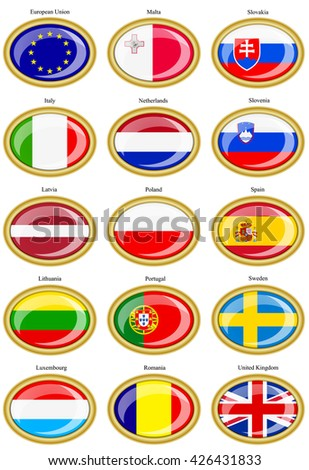 Set of icons. Flags of the European Union.    - stock vector