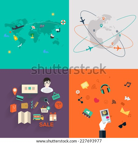 Set of icons. Flat Design. Mobile Phones, Tablet PC,e-commerce,  Web and Apps vector icons. - stock vector