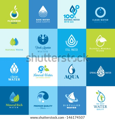 Set of icons for all types of water - stock vector