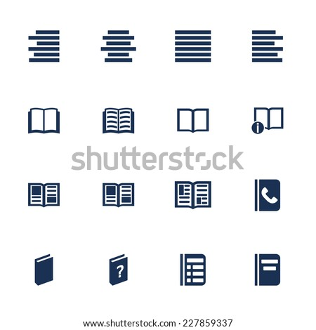 Set of icons for book, list and information in flat style - stock vector