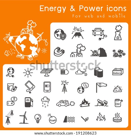 Set of icons for Energy and power - stock vector