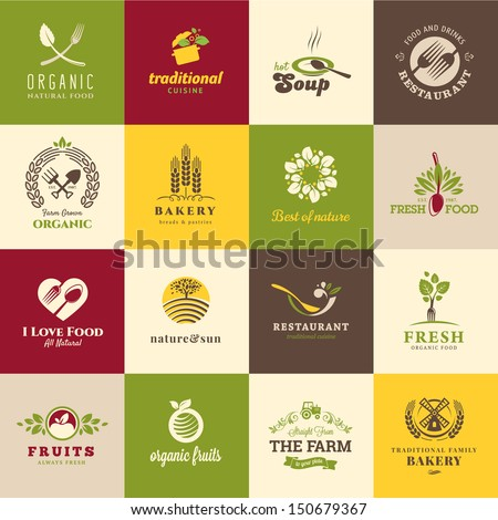 Set of icons for food and drink, restaurants and organic products - stock vector