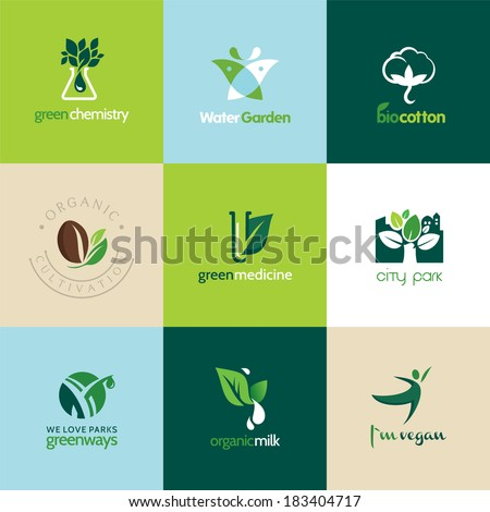 Set of icons for medicine, health care, pharmacy, organic - stock vector