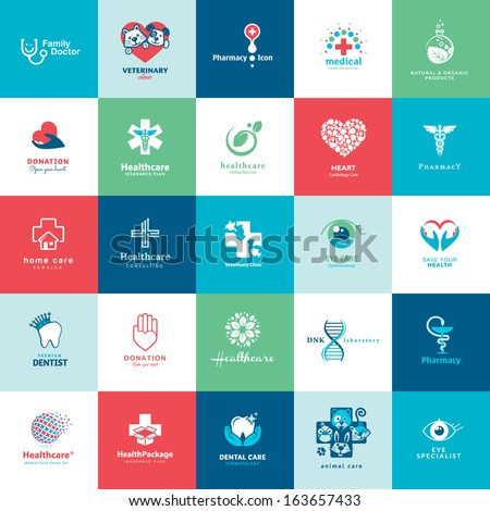 Set of icons for medicine, healthcare, pharmacy, veterinarian, dentist     - stock vector
