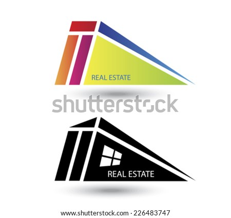 Set of icons for real estate business on white background - stock vector