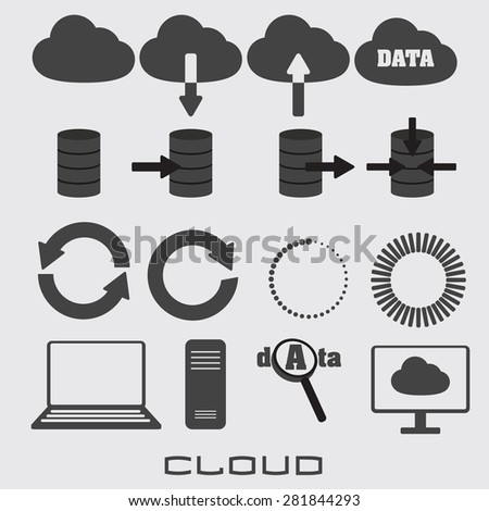 set of icons for search and storage of information - stock vector