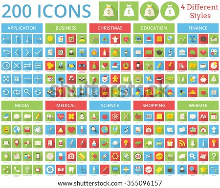 Set of 200 icons for web and mobile. It includes 4 styles for each icon in different layers. - stock vector