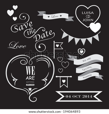 Set of icons for wedding on black background - stock vector
