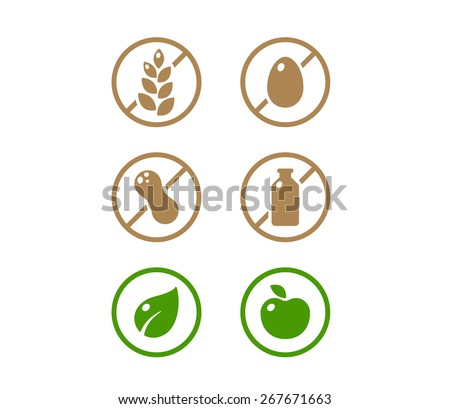 Set of icons illustrating absence of common food allergens (gluten, dairy, egg, nuts) plus vegan and organic signs. - stock vector