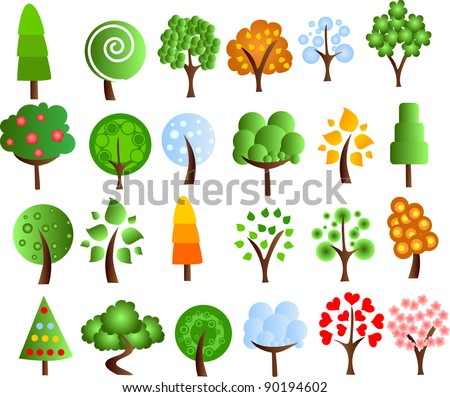 Set of icons of different trees, the vector - stock vector